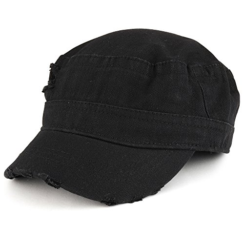 Frayed Herringbone Textured Elastic Band Jeep Style Cap - Black