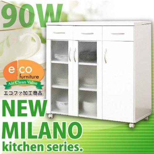 キッチン 収納 レンジ ワゴン ニューミラノ ホワイト 90W SZ035 B0063YCZB4
