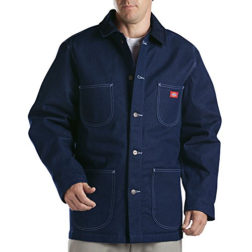 Button Cuff Denim Coat (Dickies Men's Denim Blanket Lined Chore Coat, Blue, Medium-Regular)