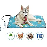 Pet Heating Pad Large, Kobwa Indoor Electric Heat Dog Cat Pad with Temperature Controller, Waterproof Pet Heating Mat with Overheat Protection, Heater Warmer Mat Bed Blanket with Anti-chew Steel Cord