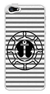 Anchor Nautical Gray Stripes Snap-On Cover Hard Plastic Case for iPhone 5/5S (White)