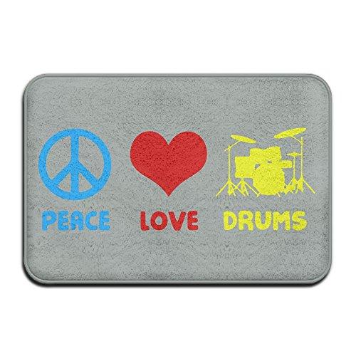 Peace Love Drums Non Slip Indoor Door Mats Standing Mat