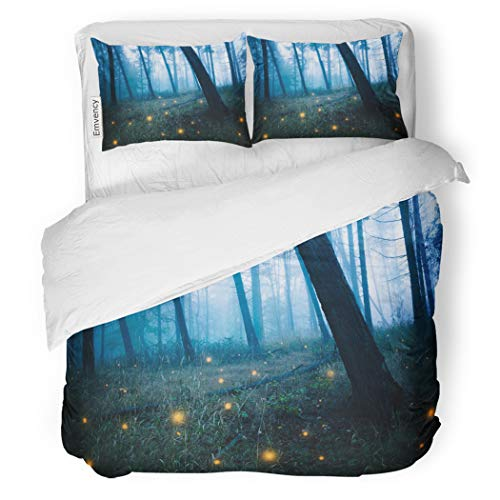 SanChic Duvet Cover Set Blue Enchanted Dark Forests Fireflies Fairy Magical Scary Decorative Bedding Set with Pillow Case Twin - Duvet Set Enchanted Cover