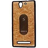 Casotec Metal Back TPU Back Case Cover for Sony Xperia C3 - Gold