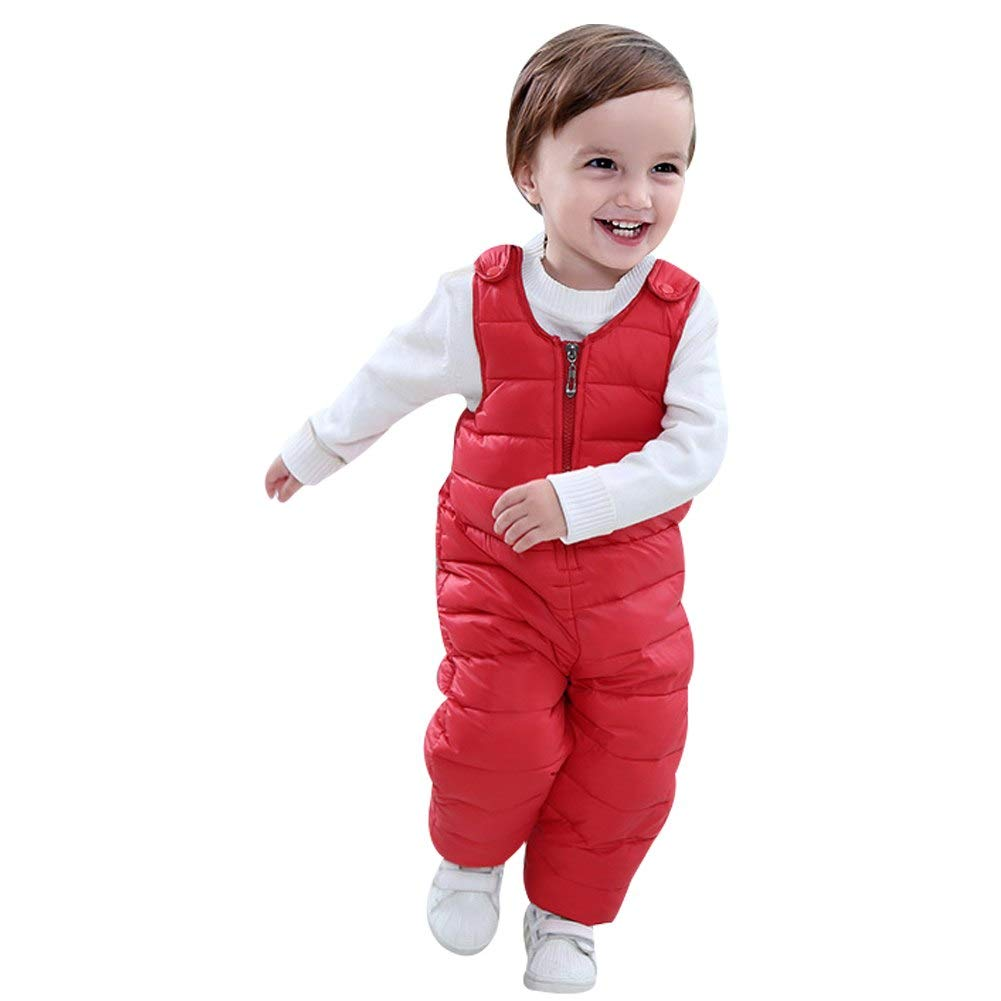 Happy childhood Unisex Baby Winter Overall Snow Pants Down Padded Suspender Trousers Warm Dungarees for Boys and Girls HC-BP-30