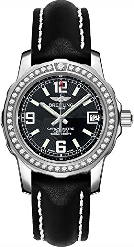 Breitling Colt Lady Diamond Women's Watch on Black Leather Strap A7738753/BB51-408X