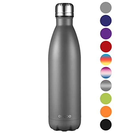Ecooe Botella térmica de acero inoxidable (750 ml) para bebidas frías y calientes (Gris)