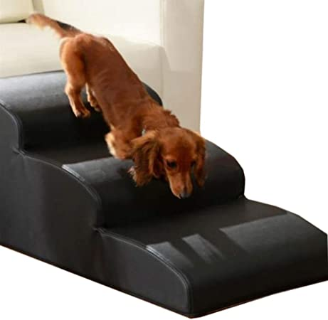 Escalera ZAY Mascotas de 3 Peldaños para el Hogar/Tiendas de Mascotas, Sofá Cama Portátil Impermeable para Mascotas PU - 70 × 40 × 30cm (Color : Black): Amazon.es: Hogar