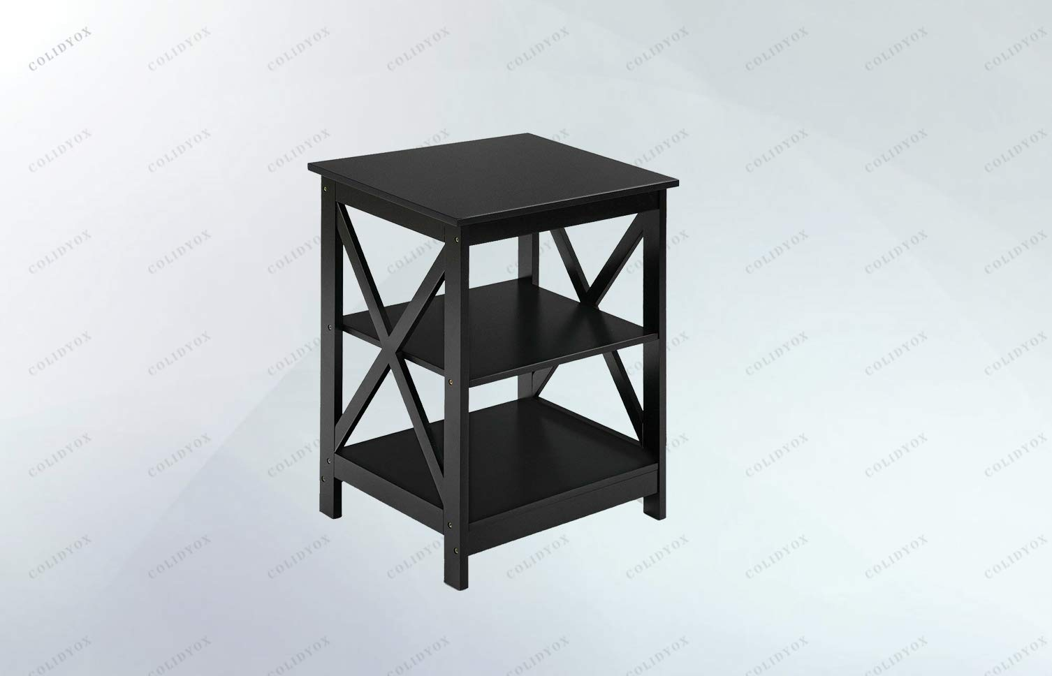 COLIDYOX>3-Tier Nightstand End Table Storage Display Shelf Living Room Furniture,Neat& Modern Design with Elegant Black Finish, Classic Double X Stretcher Design.