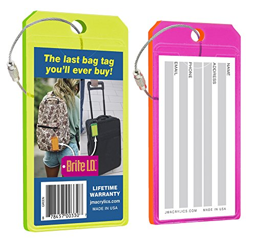 Brite I.D. Neon Green/Pink Luggage Tag Combo Pack, Set of 2