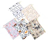 MONKA Fabric Treat Bags Pack of 5, Fabric Gift Bags, Cute Animal Printed Fabric Treat Bags, Birthday Favor Bags, Gift Card Drawstring Bags