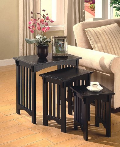 Set of 3 Mission Style Black Accent Nesting Side Table ()