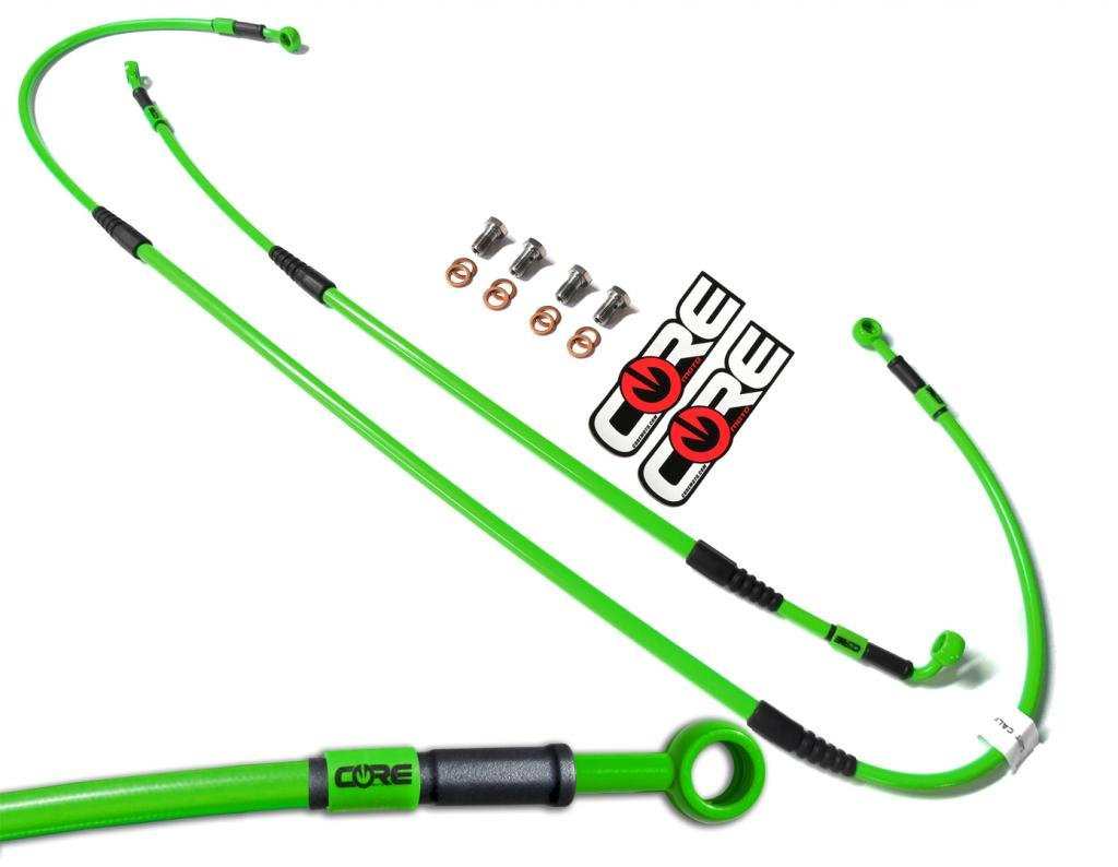Core Moto CC0040-KG MX Front and Rear Brake Line Kit - Kawasaki Green for KX65 (00-16)
