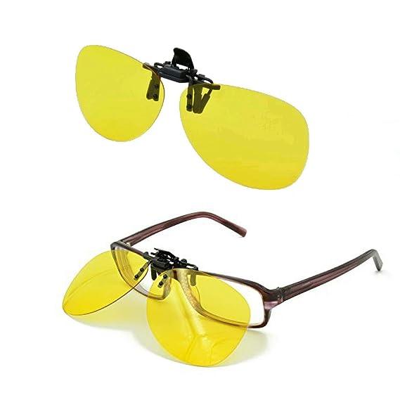 Gafas de conducción nocturna con clip /protección UV para conducción durante el día / reducen el brillo de lámparas, nieve, sol, aptas para todas las ...