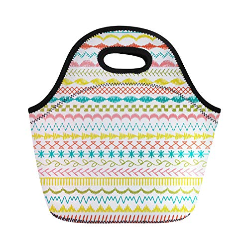 Semtomn Lunch Tote Bag Edge Sewing Stitch Borders Zig Zag Hand Scallop Drawn Reusable Neoprene Insulated Thermal Outdoor Picnic Lunchbox for Men Women ()