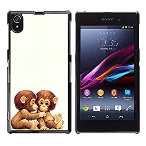 Graphic4You 2 Cute Baby Monkeys Animal Design Hard Case Cover for Sony Xperia Z1