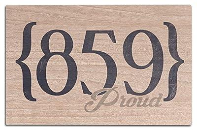 Lexington, Kentucky - 859 Area Code (Blue) (Wood Wall Sign, Wall Decor Ready to Hang)