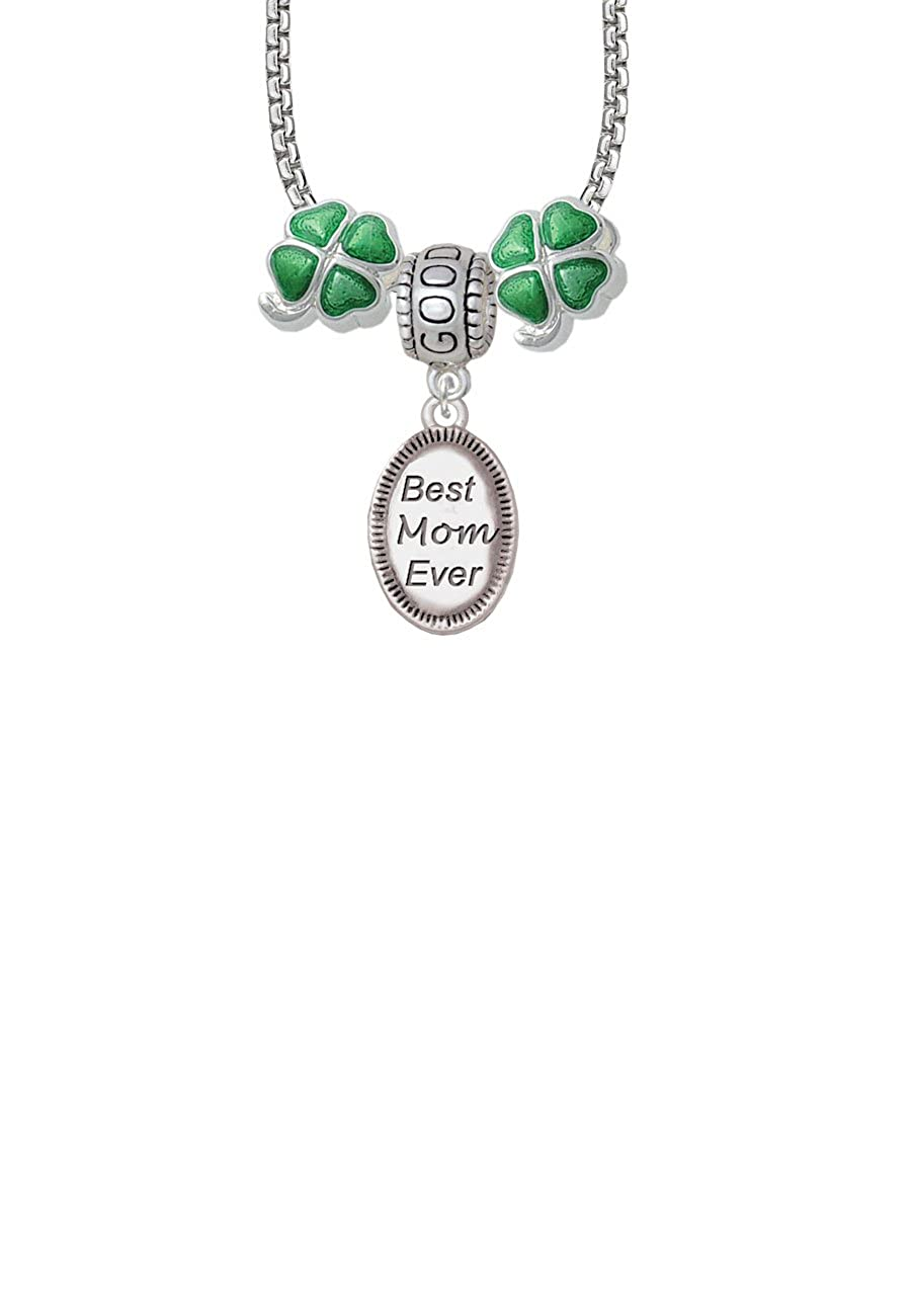 Best Mom Ever Oval Good Luck and Clover 3 Bead Necklace