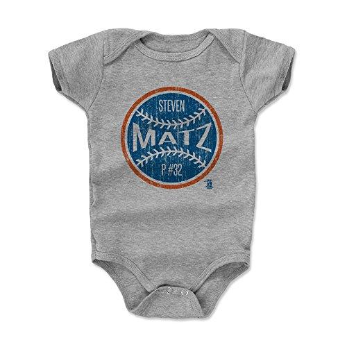 500 LEVEL Steven Matz Baby Clothes, Onesie, Creeper, Bodysuit 3-6 Months Heather Gray - New York Baseball Baby Clothes - Steven Matz Ball B ()