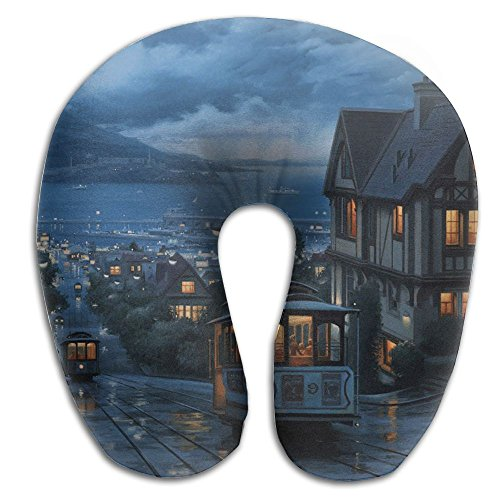 Laurel Neck Pillow Cartoon Town Travel U-Shaped Pillow Soft Memory Neck Support For Train Airplane Sleeping -