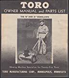 "Toro Owner Manual & Parts List 18"" & 21"" Homelawn 1947"