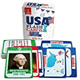 learning the united states - Kids USA Presidents and States Pocket Flash Cards - 95 cards with beautiful images for each State Bird, Flower, Flag, Tree and more - Educational Civics for Kids