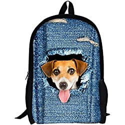 TOREEP Cute Cat Dog Print Casual Laptop Backpack School Bookbag