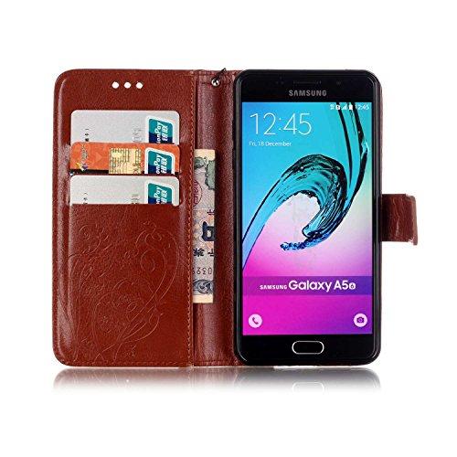JIALUN-Personality teléfono shell Funda Samsung A510, carcasa de color sólido, caja de cuero de la PU Premium Funda magnética de relieve para Samsung A510 2016 Seguridad y Moda ( Color : Blue , Size : Gold