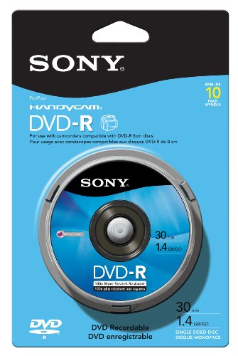Sony 10DMR30RS1H 8cm DVD-R 10-Pack Spindle Skin Pack