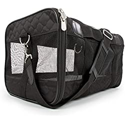 Sherpa Travel Original Deluxe Airline Approved Pet Carrier, Small, Black Lattice Stitching