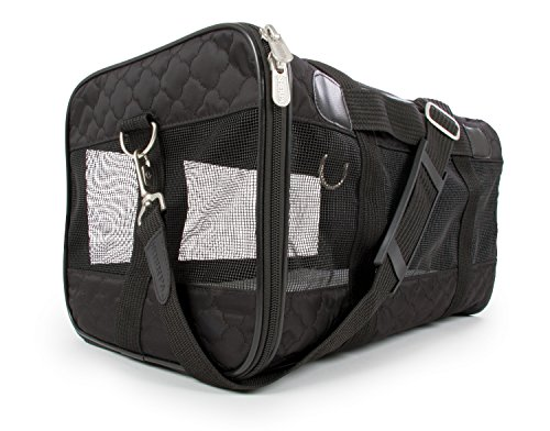 Sherpa Travel Original Deluxe Airline Approved Pet Carrier, Medium, Black Lattice Stitching