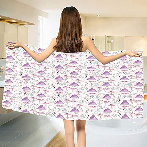 (smallbeefly Swan Bath Towel Princess Dress Gown Magic Shoes Mirror and Cute Swans with Tiaras Pattern Customized Bath Towels Lavander Blush White Size: W 19.5