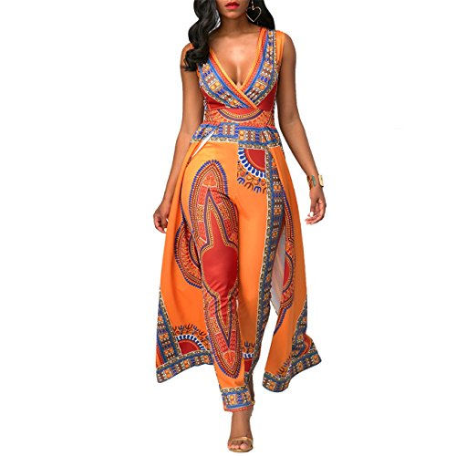 Women's Casual Deep V-Neck Sleeveless National Style Printed Romper Jumpsuit Slim Bodycon Bandage Club Dovetail Cape Dress Orange M by cnFaClu