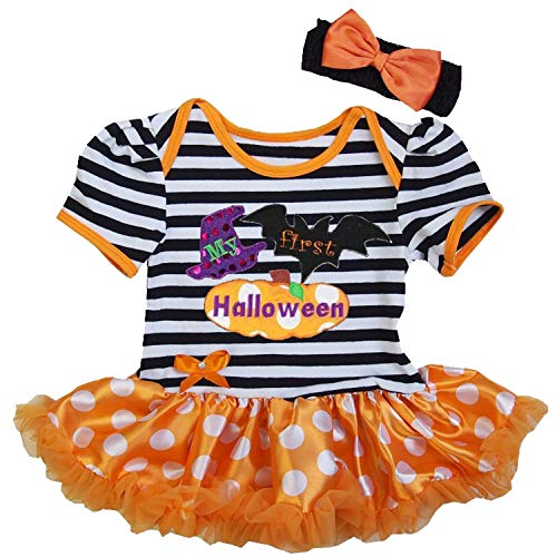 Kirei Sui Baby First Halloween Short Sleeve Stripes Bodysuit X-Large -