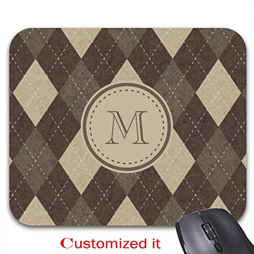(Mocha Chocca Brown Argyle Plaid with Monogram Mouse Pad Stylish Office Computer Accessory 9.25 x)