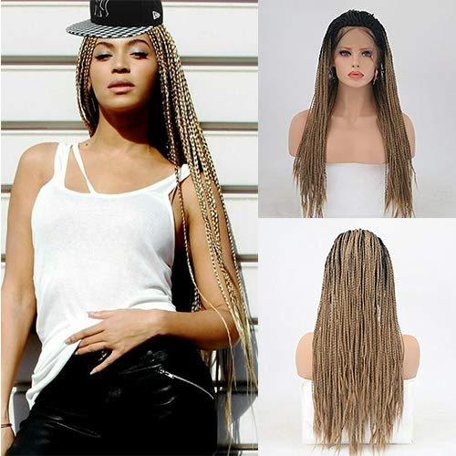 IVY HAIR Micro Million Braid Wig - Ombre Color Braided Hairstyle Natural Straight Synthetic Lace Front Micro Braids Wig Ombre Black to Brown Hand Tied Heat Resistant Braided Wigs For Women Daily Use