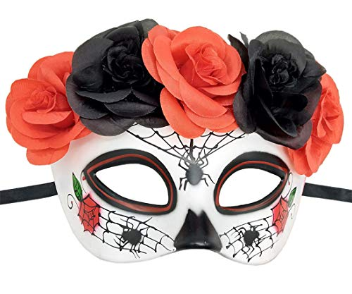 Day Of Dead Halloween Mask (Women's Masquerade Mask Mexican Day of The Dead Sugar Skull Eyemask Masque Fancy Dress (Y)