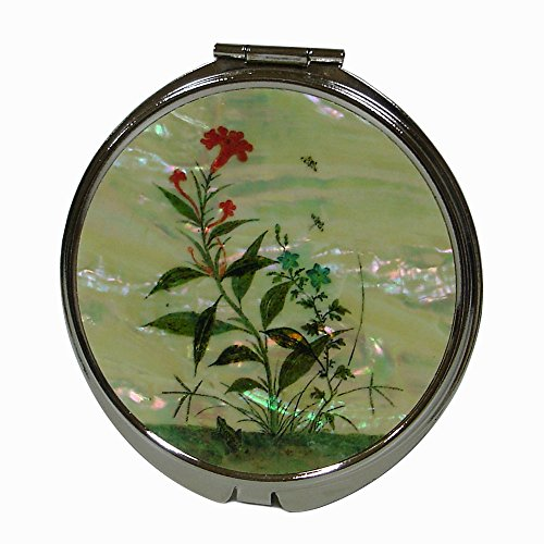 Mother of Pearl Cockscomb Red Flower Round Magnifying Double Compact Handbag Purse Makeup Cosmetic Pocket Hand Mirror by Antique Alive