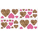 Cheetah Pink Wall Decal Stickers by Sweet Jojo Designs - Set of 4 Sheets