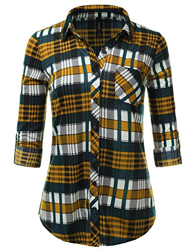 JJ Perfection Womens Long Sleeve Collared Button Down Plaid Flannel Shirt TEALMUSTARD M
