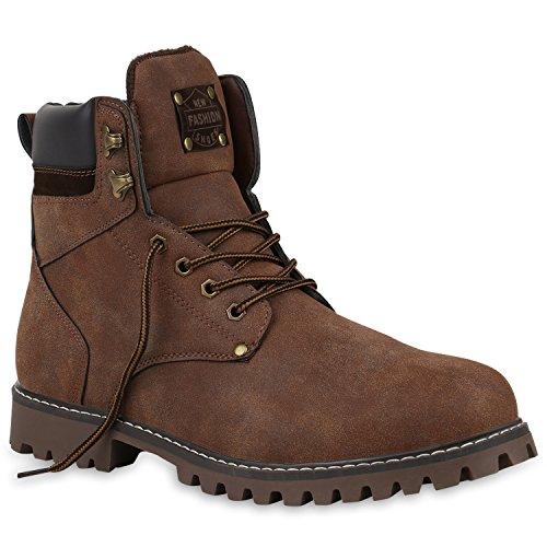 Stiefelparadies Herren Worker Boots Profilsohle Stiefeletten Gefütterte Outdoor Schuhe Schnürboots Wildleder-Optik Nieten Camouflage Flandell Dunkelbraun Camiri