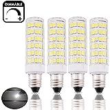 Bonlux 6W Dimmable E11 LED Light Bulb 45W Halogen Bulbs Equivalent Mini Candelabra E11 Base Daylight 6000K T3/T4 Omni-directional LED Bulb for Ceiling Fan, Indoor Decorative Lighting (Pack of 4)