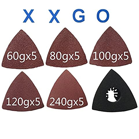 XXGO 26 Pcs Triangle 3-1/8 Inch 60 / 80 / 100 / 120 / 240 Grits Oscillating Multi Tool Grits Sandpaper and Triangular Sanding Pads Sets For Universal Oscillating (Bosch Multi Sander)
