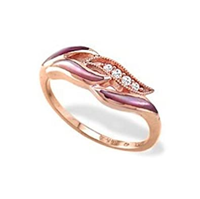 Amazoncom 14K Rose Gold Kabana Ring with Pink Mother of Pearl and