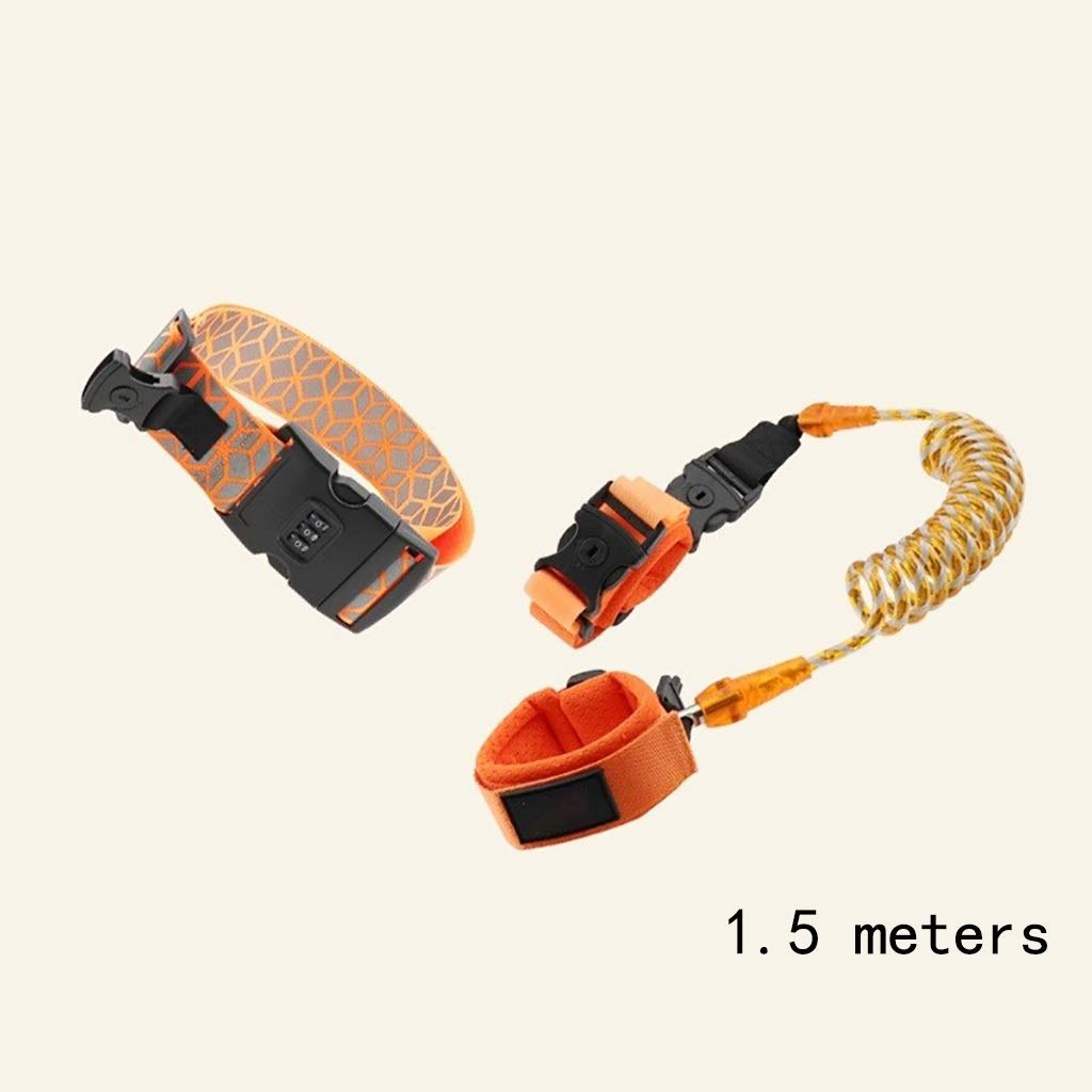 VIVIANE Safety Rope Artifact Bracelet Belt Child Anti-Lost with Traction Rope Anti-Lost Rope Anti-Lost Baby Baby (Color : Orange, Size : 1.5 Meters)