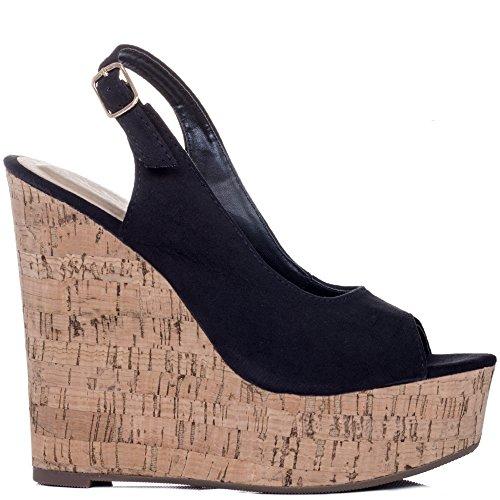 Spylovebuy Down At Heel Damen Verstellbare Schnalle Keilabsatz Sandalen Schuhe Pumps Schwarz - Synthetik Wildleder