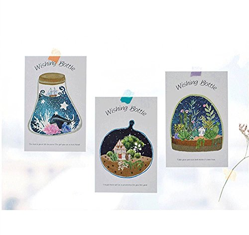 MONOMONO-30 pcs set cartoon wishing bottle postcard greeting card fluorescent - Park Mall State Garden