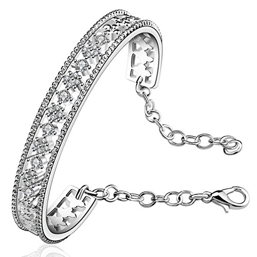 Women's Vintage 925 Sterling Silver Plated Filigree Cubic Zirconia Cuff Bangle Bracelets 6CM Diamerter from SAINTHERO