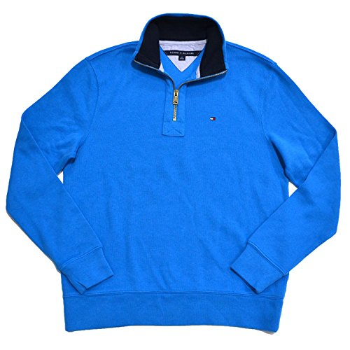 - Tommy Hilfiger Mens Half Zip Mock Neck Sweater (Mediterranean, Small)