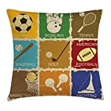 Sports Decor Throw Pillow Cushion Cover by Ambesonne, Set of Vintage Various Sports Elements Golf Bowling Baseball Tennis Icons Print, Decorative Square Accent Pillow Case, 24 X 24 Inches, Multi